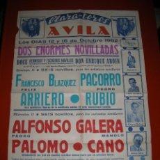 Carteles Toros: PLAZA DE TOROS DE AVILA.DOS NOVILLADAS.AÑO 1952. Lote 47291751