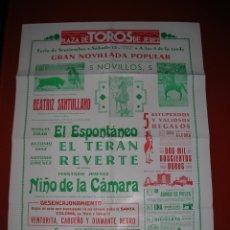 Carteles Toros: PLAZA D TOROS.JEREZ DE LA FRONTERA.NOVILLADA.SANTULLANO-ESPONTÁNEO-TERAN-REVERTE-NIÑO CÁMARA.AÑOS 40. Lote 47291973