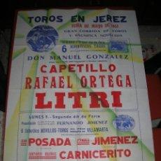 Carteles Toros: PLAZA DE TOROS DE JEREZ DE LA FRONTERA.CORRIDA DE TOROS+ NOVILLADA.CARPETILLO-R.ORTEGA-LITRI.1952. Lote 47292122