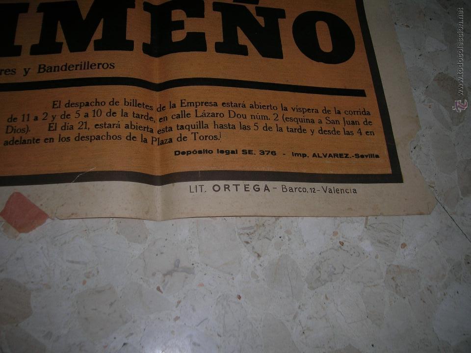 Carteles Toros: Plaza de toros de Cádiz.Gran cartel de toros tamaño bodega: 265 x 110 ctms. Necesita restauración. - Foto 6 - 47331583
