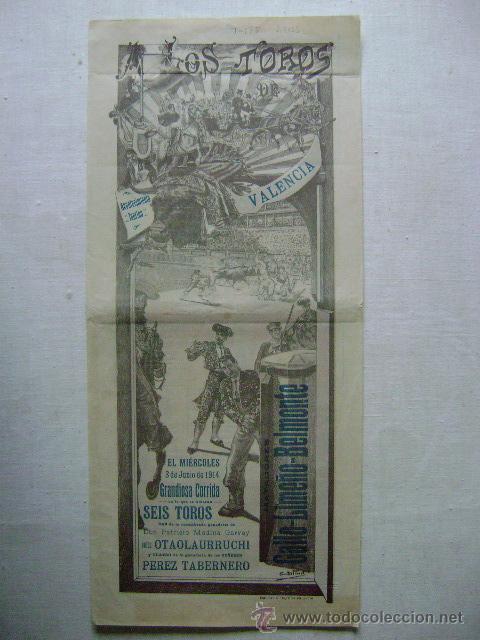 A LOS TOROS.VALENCIA 3 DE JUNIO DE 1914.GALLO,LIMEÑO.BELMONTE.T-175 (Coleccionismo - Carteles Gran Formato - Carteles Toros)
