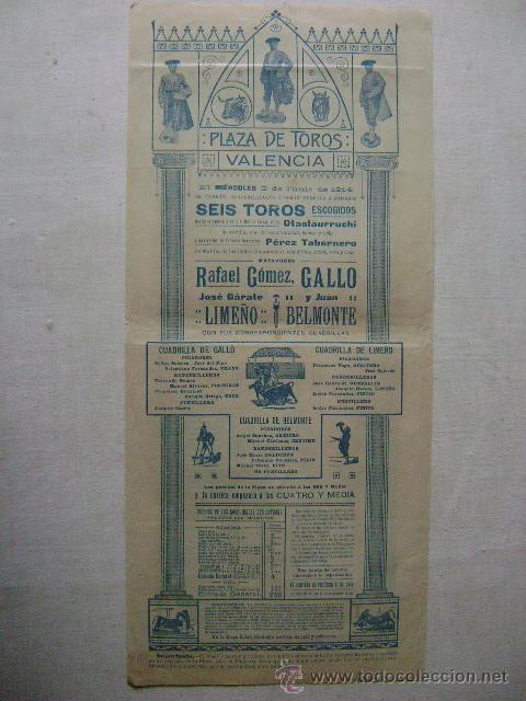 Carteles Toros: A LOS TOROS.VALENCIA 3 DE JUNIO DE 1914.GALLO,LIMEÑO.BELMONTE.T-175 - Foto 2 - 47331837