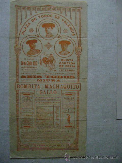PLAZA DE TOROS DE VALENCIA.28 DE JULIO DE 1913.6 TOROS DE MIHURA.BOMBITA ,MACHAQUITO Y GALLO.T-189 (Coleccionismo - Carteles Gran Formato - Carteles Toros)