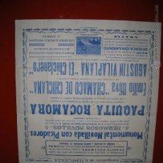 Carteles Toros: PLAZA DE TOROS DE SAN FERNANDO.NOVILLADA.PAQUITA ROCAMORA-EMILIO OLIVA-EL CHICLANERO.1958. Lote 47345576