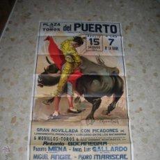 Carteles Toros: PLAZA DE TOROS DEL PUERTO DE SANTA MARIA.NOVILLADA.AÑO 1981.CARTEL GRANDE.TAMAÑO: 160 X 80 CTMS.. Lote 47437801