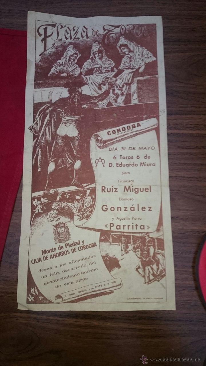 CARTEL DE TOROS PLAZA DE TOROS DE CORDOBA, PRINCIPIOS DE LOS 80 RUIZ MIGUEL, DAMASO GONZALEZ... (Coleccionismo - Carteles Gran Formato - Carteles Toros)