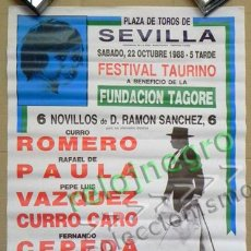 Carteles Toros: CARTEL FESTIVAL TAURINO 6 NOVILLOS SEVILLA 1988 - TAUROMAQUIA TOROS CURRO ROMERO RAFAEL DE PAULA ETC. Lote 250324565