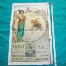 Carteles Toros: ORIGINAL. CARTEL DE TOROS PLAZA VALLADOLID AÑO 1929 LIT ORTEGA -CAGANCHO,BIENVENIDA ETC. Lote 48353913