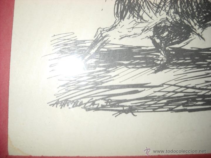 Carteles Toros: dos dibujos taurinos de antonio casero,enmarcados. - Foto 3 - 48389568
