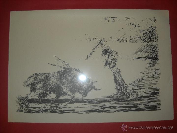 Carteles Toros: dos dibujos taurinos de antonio casero,enmarcados. - Foto 8 - 48389568