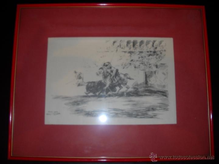 Carteles Toros: dos dibujos taurinos de antonio casero,enmarcados. - Foto 9 - 48389568