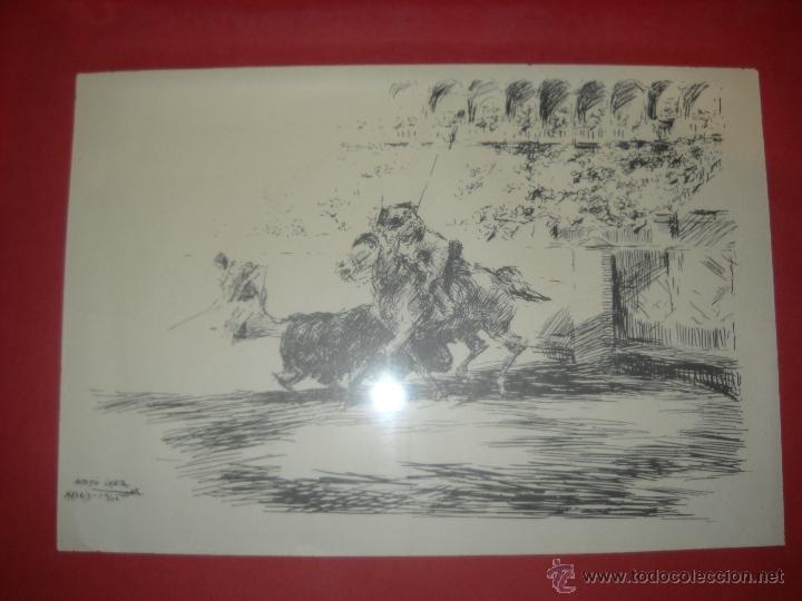 Carteles Toros: dos dibujos taurinos de antonio casero,enmarcados. - Foto 10 - 48389568