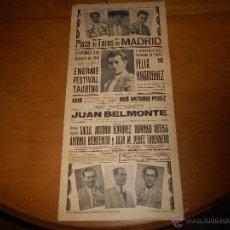 Carteles Toros: CARTEL TOROS MADRID OCTUBRE 1941 56X26 CM BENEFICENCIA A FELIX RODRIGUEZ NOVILLOS ANTONIO PEREZ. Lote 48702187