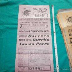 Carteles Toros: ORIGINAL. CARTEL DE TOROS PLAZA VALLADOLID AÑO 1963 BARREÑO,CURRITO,TOMAS PARRA. Lote 48919137