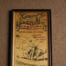 Carteles Toros: CARTEL DE TOROS DE CÓRDOBA. NUESTRA SEÑORA DE LA SALUD. 1958. GREGORIO SÁNCHEZ, CURRO GIRÓN, ETC.. Lote 49013851