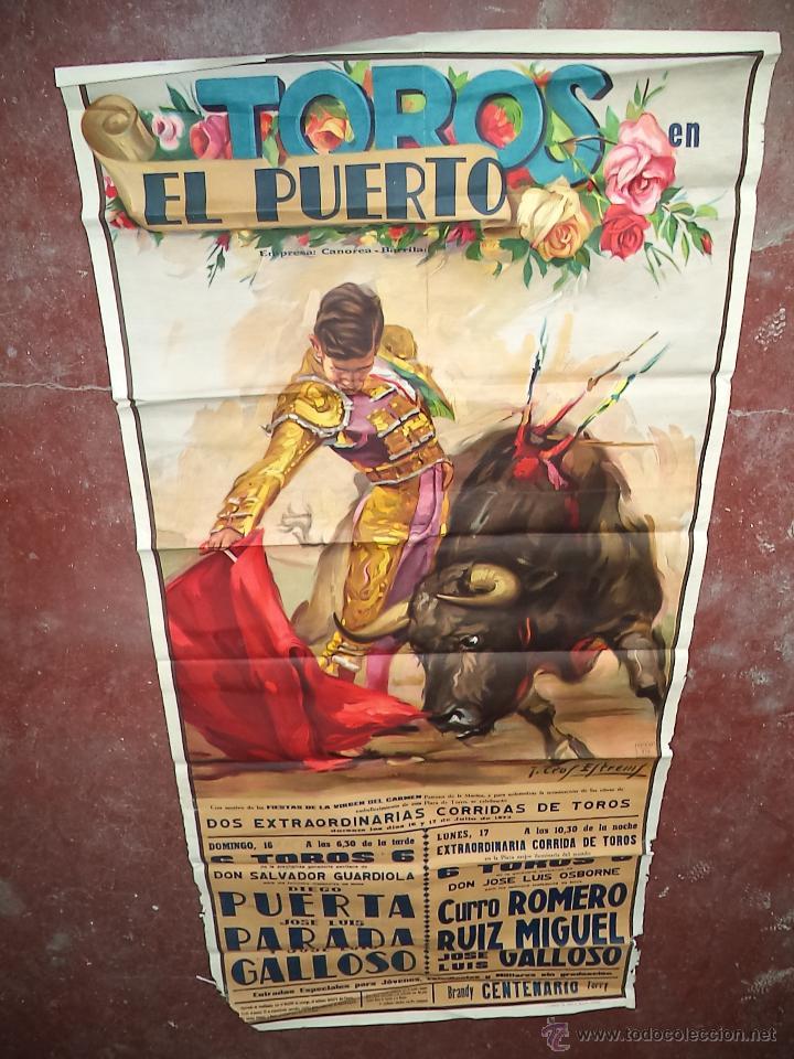 ENORME CARTEL DE TOROS,PUERTO DE SANTA MARÍA,CÁDIZ,MÁS DE DOS METROS,IDEAL DECORACIÓN (Coleccionismo - Carteles Gran Formato - Carteles Toros)