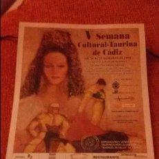 Carteles Toros: CARTEL V SEMANA CULTURAL TAURINA DE CADIZ - AÑO 1998 - MEDIDA 17X30CM - TOROS -. Lote 49546020
