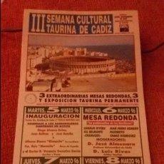 Carteles Toros: CARTEL III SEMANA CULTURAL TAURINA DE CADIZ - AÑO 1996 - MEDIDA 35X16CM - TOROS . Lote 49546090