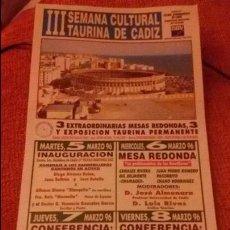 Carteles Toros: CARTEL III SEMANA CULTURAL TAURINA DE CADIZ - AÑO 1996 - MEDIDA 35X16CM - TOROS . Lote 49546406
