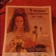 Carteles Toros: CARTEL V SEMANA CULTURAL TAURINA DE CADIZ - AÑO 1998 - MEDIDA 17X30CM - TOROS . Lote 49546617