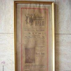 Carteles Toros: ANTIGUO CARTEL DE TOROS ENMARCADO. PLAZA DE TOROS APAM. HIDALGO. MEXICO. ABRIL DE 1912. 50 X 70. Lote 49683533