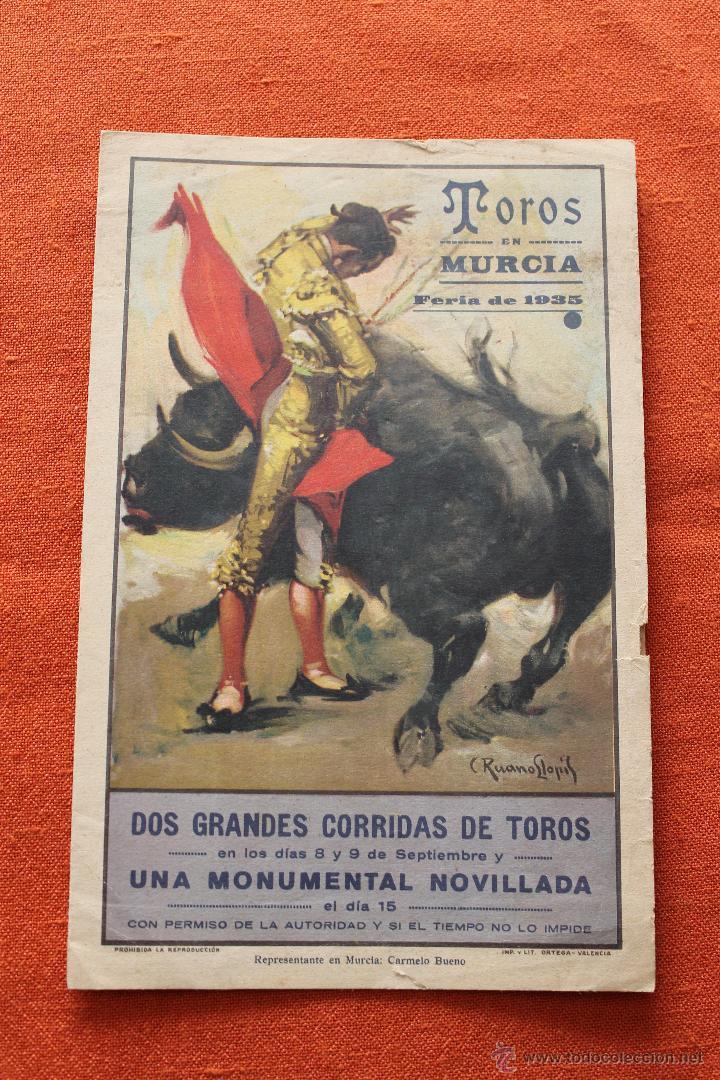 TOROS MURCIA FERIA 1935, CON PUBLICIDAD (Coleccionismo - Carteles Gran Formato - Carteles Toros)