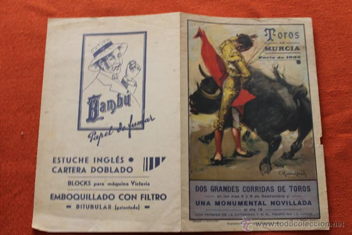 Carteles Toros: TOROS MURCIA FERIA 1935, CON PUBLICIDAD - Foto 2 - 49783776