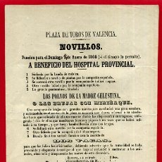 Carteles Toros: CARTEL TOROS PLAZA DE VALENCIA , 1866 , NOVILLOS , ORIGINAL. Lote 49842367