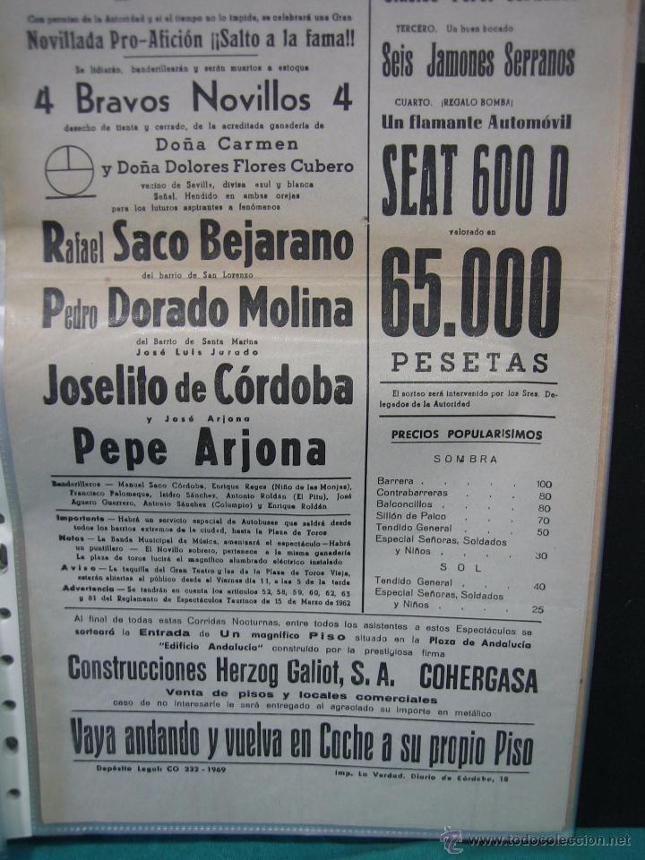 Carteles Toros: Cartel plaza de toros de Cordoba 1969.Medidas 21x43 cm - Foto 3 - 49843573