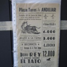 Carteles Toros: CARTEL PLAZA DE TOROS DE ANDUJAR 1969. MEDIAS 21X43,5 CM. Lote 49844263