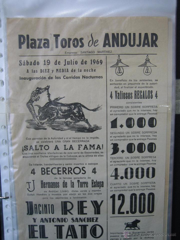 Carteles Toros: Cartel plaza de toros de Andujar 1969. Medias 21x43,5 cm - Foto 2 - 49844263