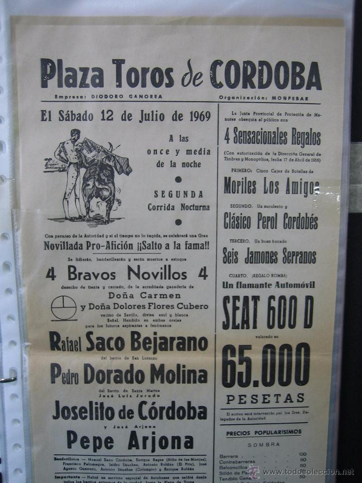 Carteles Toros: Cartel plaza de toros de Cordoba 1969. Medias 21x43,5 cm - Foto 2 - 49844277