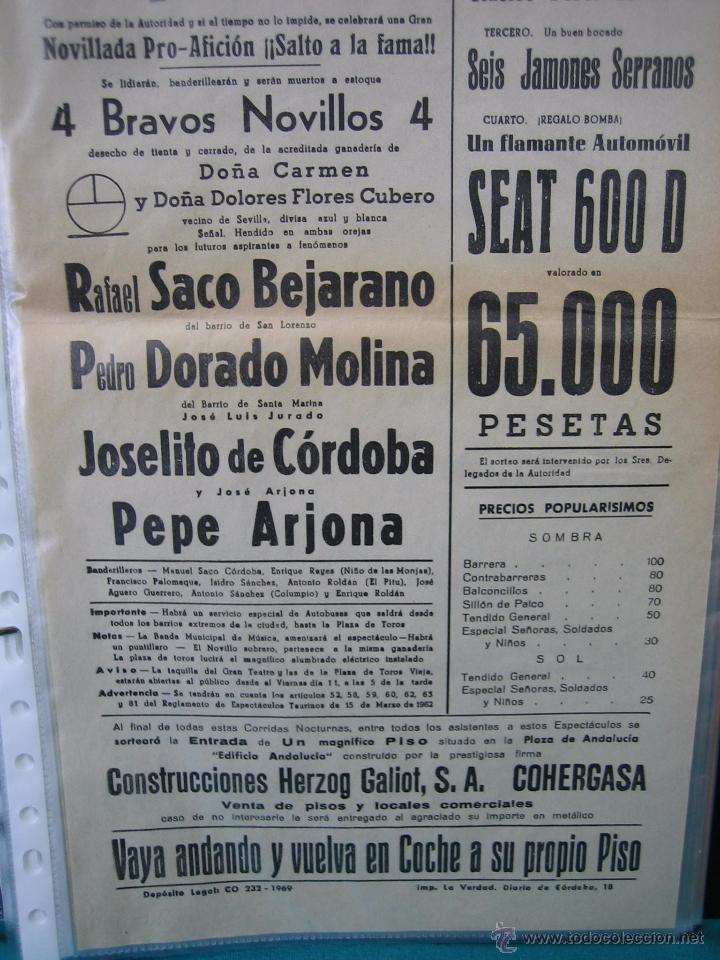 Carteles Toros: Cartel plaza de toros de Cordoba 1969. Medias 21x43,5 cm - Foto 3 - 49844277