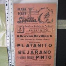 Carteles Toros: CARTEL PLAZA DE TOROS DE SEVILLA 1965. MEDIAS 21X43,5 CM. Lote 49844292