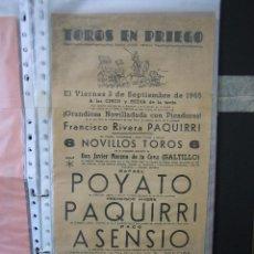 Carteles Toros: CARTEL PLAZA DE TOROS DE PRIEGO DE CÓRDOBA 1965. MEDIAS 21X43,5 CM. Lote 49844303