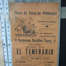 Carteles Toros: CARTEL PLAZA DE TOROS DE PRIEGO DE CÓRDOBA 1965. MEDIAS 21X43,5 CM. Lote 49844310