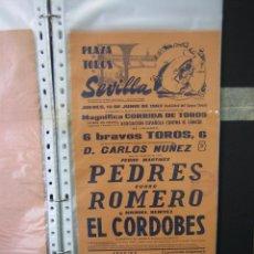 Cartazes Touros: CARTEL PLAZA DE TOROS DE SEVILLA 1963.MEDIAS 21X43,5 CM. Lote 50425729