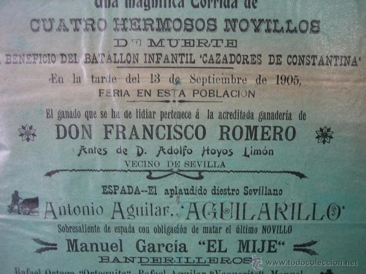 Carteles Toros: Cartel plaza de toros de Constantina 1905.21,5x44,5 cm - Foto 4 - 49847084