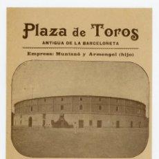 Carteles Toros: PLAZA DE TOROS ANTIGUA DE LA BARCELONETA 1901. Lote 49875324