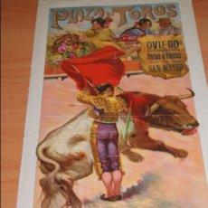Carteles Toros: CARTEL DE TOROS PLAZA DE TOROS DE OVIEDO FERIAS SAN MATEO 1916. Lote 50102721