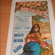 Carteles Toros: CARTEL DE TOROS PLAZA DE TOROS DE VALENCIA 17 MARZO 1918 . Lote 50102967