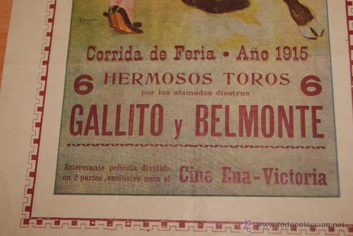 Carteles Toros: CARTEL DE TOROS PLAZA DE TOROS DE SEVILLA CORRIDA DE FERIA 1915 GALLITO Y BELMONTE - Foto 3 - 50103532