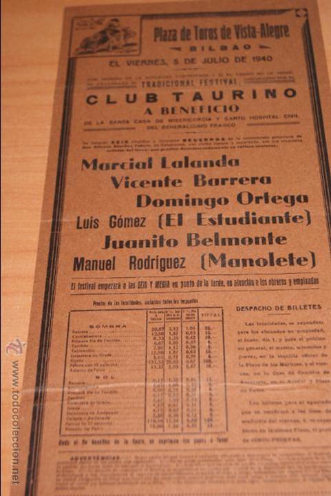 CARTEL DE TOROS PLAZA DE TOROS DE VISTA ALEGRE BILBAO 5 JULIO 1940 MANOLETE (Coleccionismo - Carteles Gran Formato - Carteles Toros)