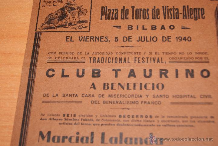 Carteles Toros: CARTEL DE TOROS PLAZA DE TOROS DE VISTA ALEGRE BILBAO 5 JULIO 1940 MANOLETE - Foto 2 - 50103678
