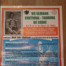 Carteles Toros: CARTEL TAURINO VII SEMANA CULTURAL TAURINA DE CADIZ 2001 68X42CM - TOROS - TAUROMAQUIA. Lote 50119458