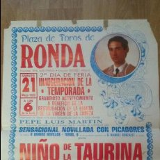 Carteles Toros: CARTEL TAURINO 1988 - PLAZA DE TOROS DE RONDA 65X45CM - TAUROMAQUIA. Lote 50119704