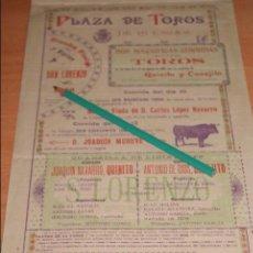 Carteles Toros: CARTEL DE TOROS PLAZA DE TOROS HUESCA FIESTAS SAN LORENZO 1900 . Lote 50130223