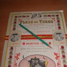 Carteles Toros: CARTEL DE TOROS PLAZA DE TOROS DE CALATAYUD 1911. Lote 50134838