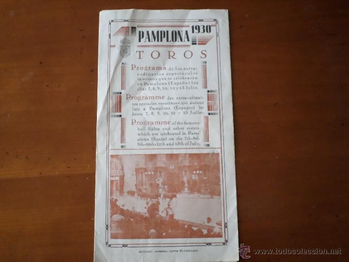 PROGRAMA FIESTAS DE PAMPLONA 1930 (Coleccionismo - Carteles Gran Formato - Carteles Toros)