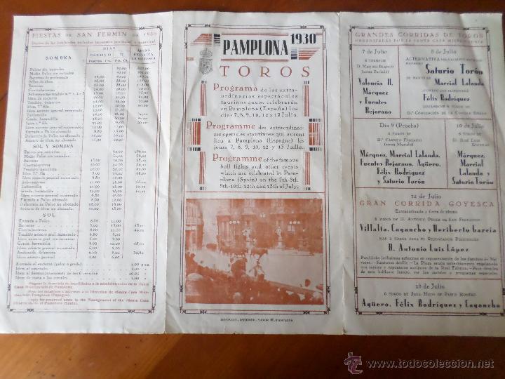 Carteles Toros: PROGRAMA FIESTAS DE PAMPLONA 1930 - Foto 2 - 50172044